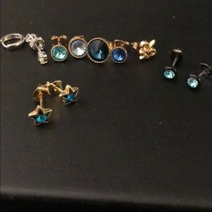 Jewelry - Earring stud lot blue dangling cuff fleur lis star